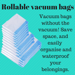Rollable vacuum bags